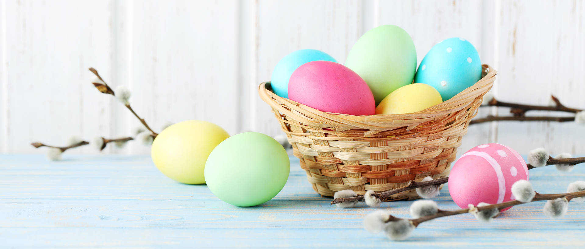 Easter eggs in a wicket basket